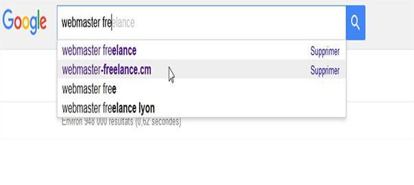 Un exemple d'autosuggestion de Google