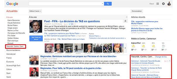 Capture d'ecran de la page Google News, Edition France
