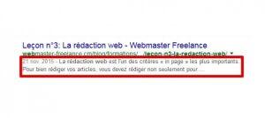 un exemple de contenu de la balise meta description (en rouge)